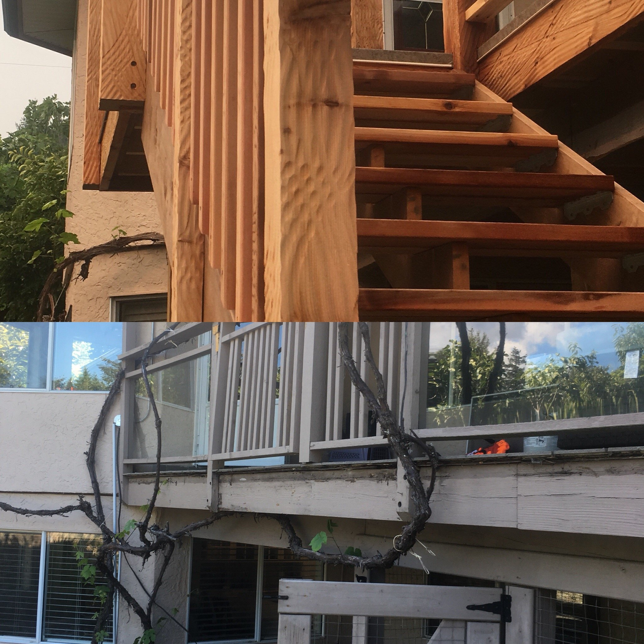 Before and after Stairs to gain access to the backyard