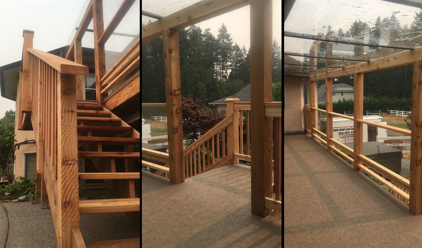 Three shots of the deck